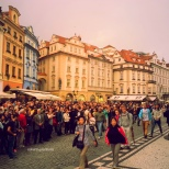 Prague - People Waiting the Astronomical Clock