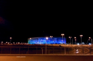 Stadio Municipale di Breslavia illuminato