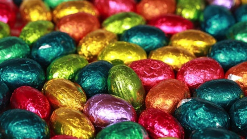 DYNARC Colorful chocolate Easter eggs forming a background